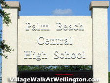 Palm Beach Central High School is just a short drive up the road from the entrance to Wellington's Village Walk community.