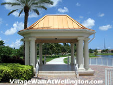A shady place to relax by the lake and enjoy a good book. This gazebo is located behind the pool town center at Village Walk.